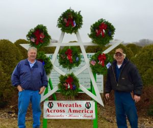 Mike Pruett and Terry Throndson stand with wreaths to be displayed outside local cemeteries to honor fallen veterans.