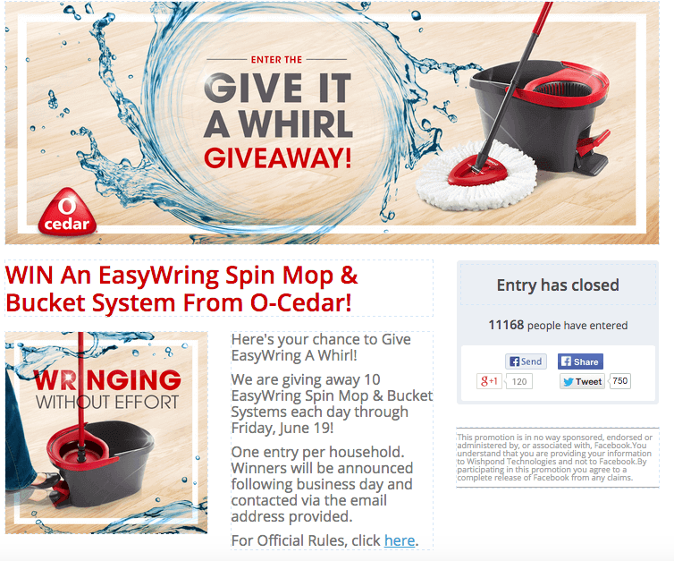 Facebook Ad Giveaway example