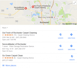 Here is an example of Local Three Pack results for carpet cleaning in Rochester, MN.