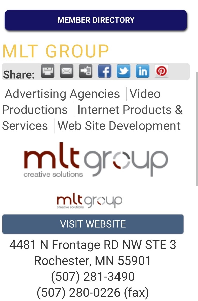A screenshot showing MLT Group's listing in the local chamber of commerce, demonstrating a structured citation.