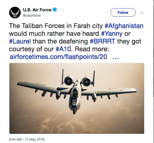 Screenshot of a now deleted US Air Force tweet featuring an A-10 Warthog.