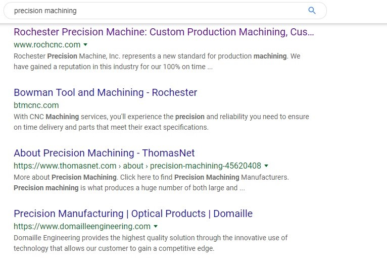 "Screenshot showing the top 4 results for the Google search ""precision machining"""